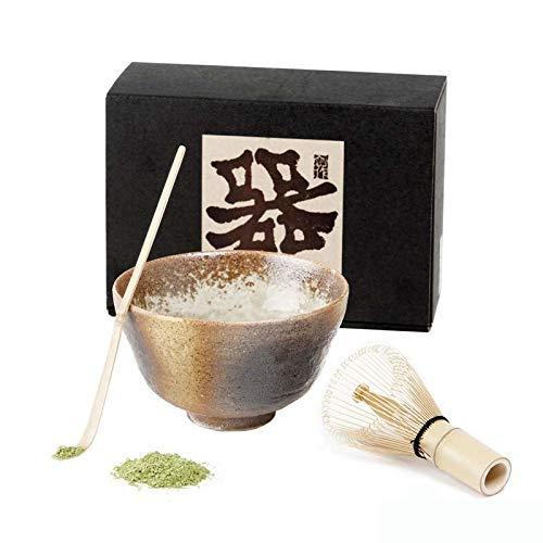 Aromas de Te - Kit de Te Matcha Ceremonia del te/Set Te Matcha Japones/Pack Accesorios Green Tea Matcha Incluye Bol de Ceramica Japonesa, Chazaku Cuchara Medidora y Chasen Batidor con Soporte