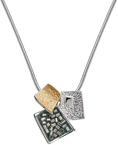Perlkönig Kette Halskette | Damen Frauen | Silber Gold Blau Farben | SchlangenKette Halskette |Karabiner Verschluss | Tricolor | Nickelabgabefrei