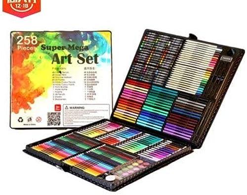 Dhrfyktu 258 Kinder maßen Set Schule Er nung Geschenk Künstlerbedarf Ausbildung Geschenk Malwerkzeuge (Farbe   Schwarz