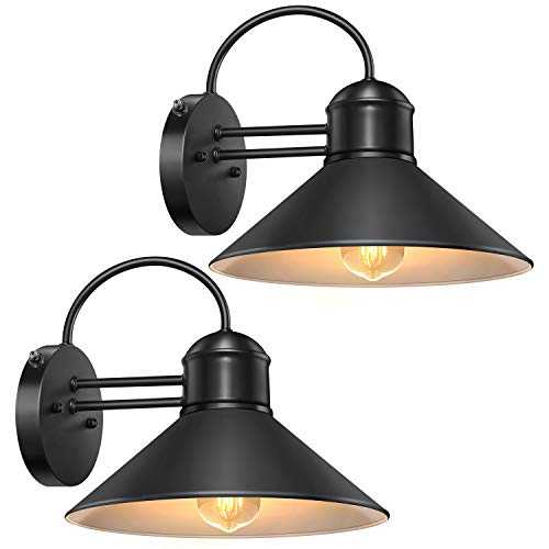 Dusk to Dawn Sensor Wall Sconce Outdoor Lighting Fixture, Black Gooseneck Barn Light Farmhouse Exterior Wall Mount Light Sconce Industrial Wall Arm Lamp for Patio,Doorway,Porch,Entryway,Garage-2 Pack