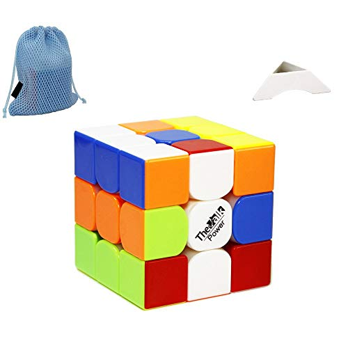 FunnyGoo Valk 3 Power 3x3 - Puzles mágicos de 3x3 Power de 3x3 Cubo de rompecabezas mágico + un soporte de cubo y una bolsa de cubo (sin pegatinas)