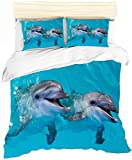 WECDS Colcha Acolchada Juego De Colchas Tortuga Island Dolphin Nordic 3DFundas Coconut Grove Ocean Juego De Colchas Edredones 3PCS Mangas/Almohada/Lino Reversible