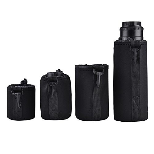 4pcs Bolsa de almacenamiento de lentes de cámara, Resistente al agua Bolsas protectoras de lentes de cámara, Lente de la cámara a prueba de golpes bolsa bolsa con Quick Clip para DSLR