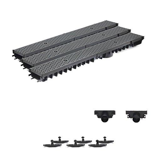 3m Entwässerungsrinne Terrassenrinne Stegrost Kunststoff komplett SET, System A15 70mm, Schwarz Decor, NEUHEIT Rinne mit integrierter Dichtung Klick System