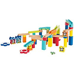 Set pista per tante possibilità di gioco - favorisce la creatività, la comprensione della fisica e la concentrazione 60 pezzi con blocchetti in legno di diversi colori e con diversi motivi Biglie in vetro incluse - per montare e iniziare subito a gio...