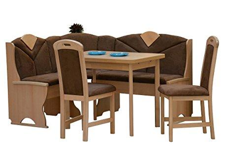 Hoekbankgroep hoekbank eetkamer eetgroep stoelen tafel uittreksel beuken deels massief