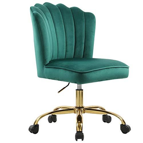 Silla de escritorio giratoria ergonómica, altura regulable 360°, color verde