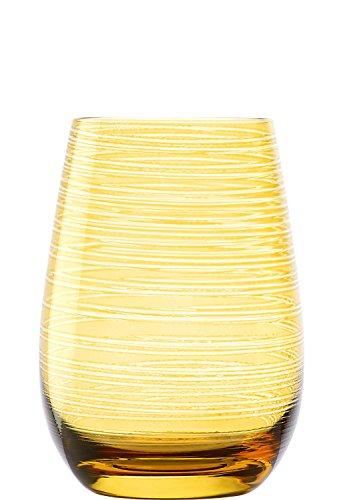 Stölzle Lausitz Twister Becher in Bernstein, 465 ml, 6er Set Gläser, spülmaschinenfest, Bunte Trinkbecher, hochwertige Qualität