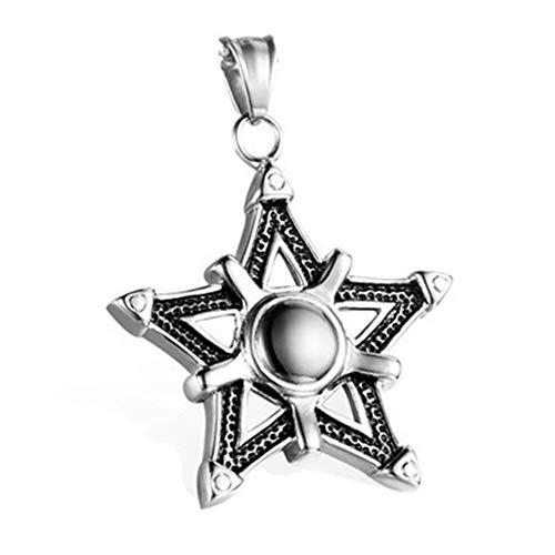 SHOYY Enfriar Japonés Coreano Estrella de Cinco Puntas Fresco de la Cruz Colgante Collar Retro del Collar de Estudiantes Hombres (Metal Color : 1)