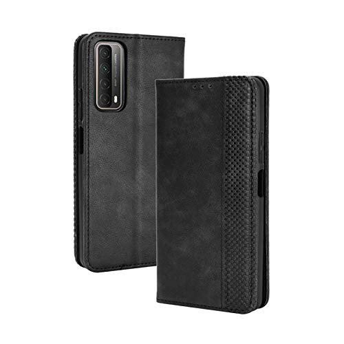 TOPOFU Leder Hülle für Huawei P Smart 2021, Premium Flip Wallet Tasche mit Ständer & Kartenfächer, PU/TPU Magnetic Lederhülle Handyhülle Schutzhülle für Huawei P Smart 2021 (Schwarz)
