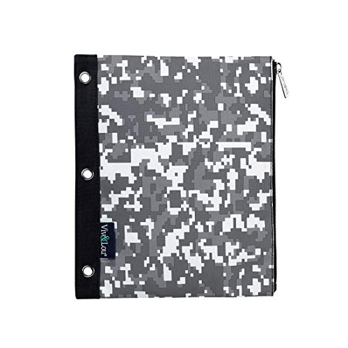 Techni Cool Grey Pixels 11 x 9 Polyester Fabric Zip Binder Pouch Pencil Bag