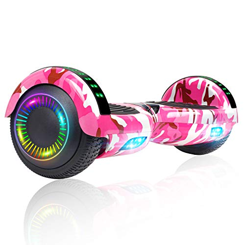 Felimoda Hoverboard, 6.5 Inch Two-Wheel Self Balancing Hoverboards - LED Light Flashing Wheel for Kids (Camo Pink)