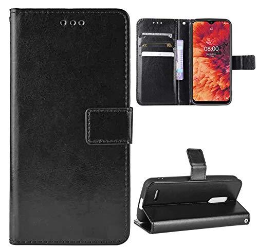 YundEU Leder Hülle für Ulefone Note 8P,Retro Ölwachs Premium Pu Leder Magnet Ständer Klapptasche Kartenfäche Flip Schutzhülle Tasche Brieftasche Handyhülle, Schwarz