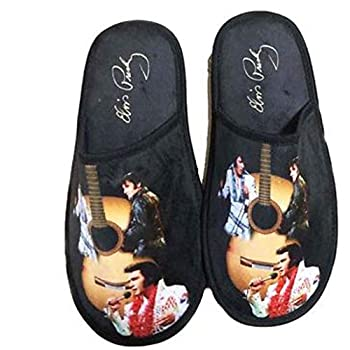 Midsouth Products Elvis Presley Slippers with Guitar Art Multicolored 10 Women/12.5 Men
