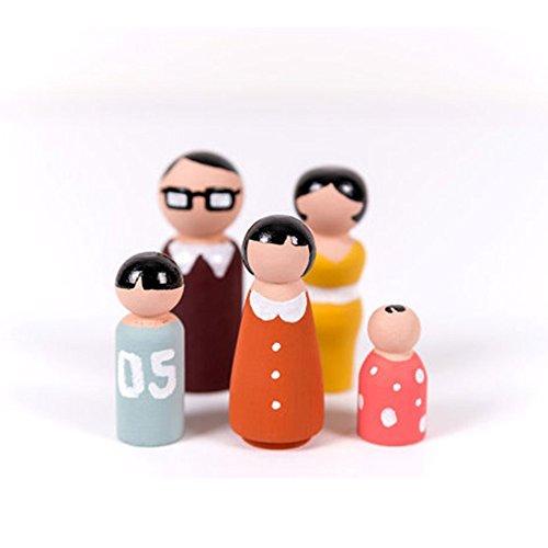 ValianhAgen 5 Stück unlackierte blanko Holz Familie Klammern Spielzeug DIY Handarbeit Hochzeit Decor Multi