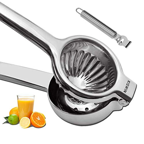 Extra Large Lemon Squeezer 304 Stainless Steel Manual Juicer Citrus Press Heavy Duty Hand Fruit Presser, Perfect for Juicing Oranges, Big Lemons & Limes - By KISWIN