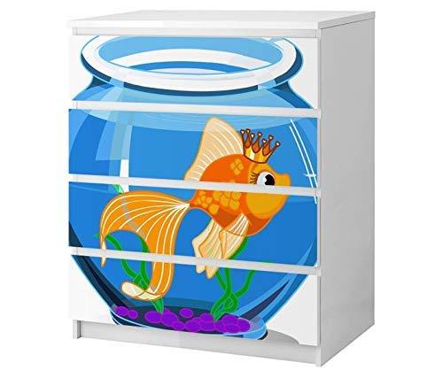 Set Möbelaufkleber für Ikea Kommode MALM 4 Fächer/Schubladen Kinderzimmer Cartoon Fisch Goldfisch Kat2 Aquarium Wasser blau ML4 Aufkleber Möbelfolie sticker (Ohne Möbel) Folie 25B2583