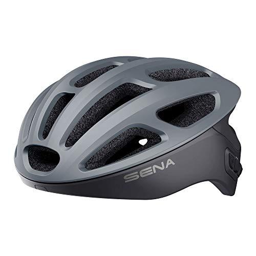 Sena R1 Smart Casco da Ciclismo (Matte Gray, Taglie L)