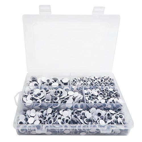 TOAOB 1620 Pièces Yeux Mobiles Autocollants Adhésifs en Plastique Ronds Blanc 6mm 8mm 10 mm 12 mm 15mm pour Scrapbooking Artisanat Accessoires DIY Craft Poupées Décorations