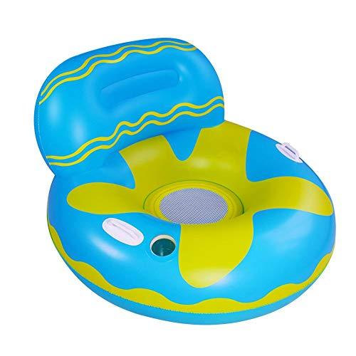 Verloco Opblaasbare zwembadbank van PVC, ligstoel met bekerhouder, speelgoed voor de zomer, voor zwembad, strand, boot, comfortabel en interessant, 105 × 105 cm