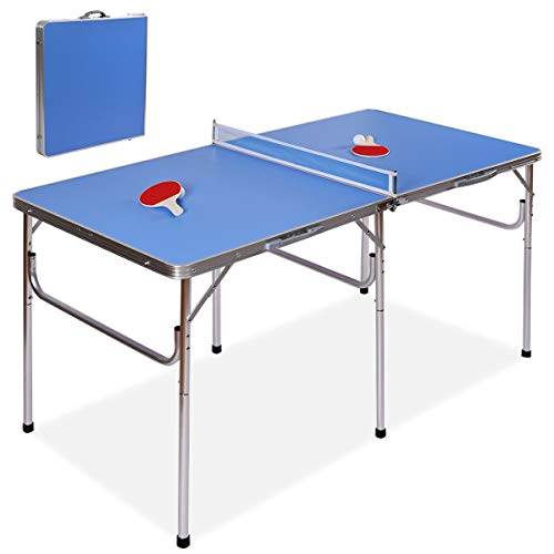 Goplus 60' Portable Tennis Table, Folding Ping Pong Table Game Set with Net, 2 Table Tennis Paddles and 2 Ping Pong Balls for Indoor/Outdoor Use