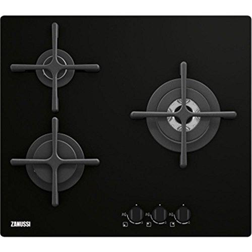 Zanussi ZGO66334BA Integrado Encimera de gas Negro hobs - Placa (Integrado, Encimera de gas, Vidrio y cerámica, Negro, Tocar, 590 mm)