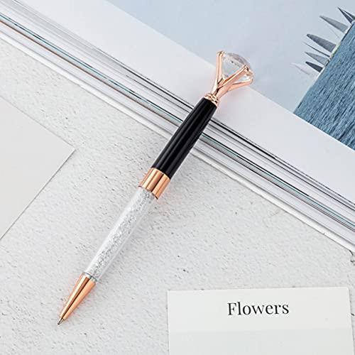 Bolígrafo de cristal elegante con texto en negro y en bonita caja (negro/rosa).