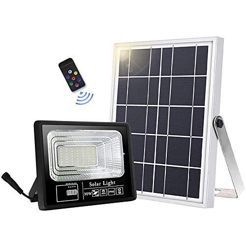 Lámparas solares para exteriores, 49 LED, lámpara solar exterior, mando a distancia IP66, resistente al agua, ángulo de iluminación de 120° con cable de 16,5 pies [Clase energética A +++]