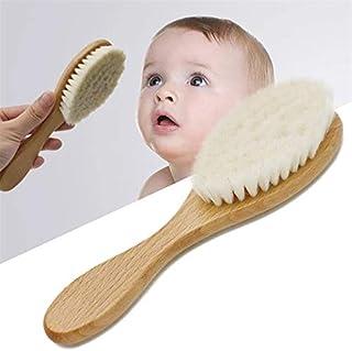 فرشاة شعر خشبية للعناية بشعر الاطفال حديثي الولادة مصنوعة من الصوف الناعم الطبيعي النقي لتدليك فروة الرأس للاولاد والبنات