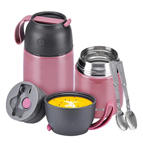 Contenitore Termico per Alimenti, Barattolo per Alimenti sottovuoto di Acciaio Inossidabile 500ml+700ml con Un Cucchiaio Pieghevole per Zuppa/Porridge,/Riso/Frutta/Brodo (Lucente Rosa)