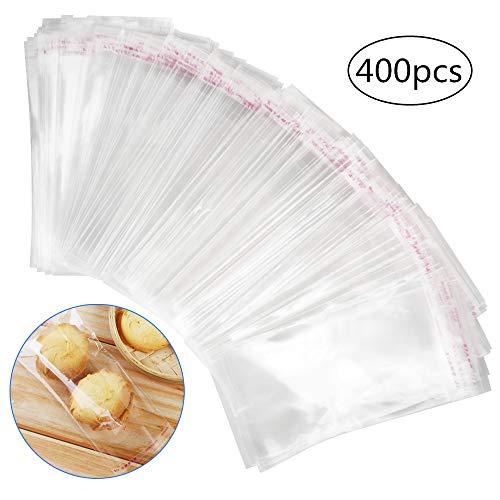 chudian 400 Stück Selbstklebend Plastiktüte Cellophantüte Flachbeutel für Süßigkeiten Kekse Gebäck Schokolade Bäckerei Transparente klein OPP Tüten (8x16cm)