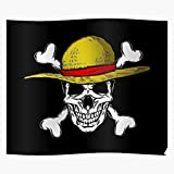 Flag Skull Straw Strawhat Luffy Monkey Pirate Pirates Hat D for Home Wall Decor Ready to Decoration