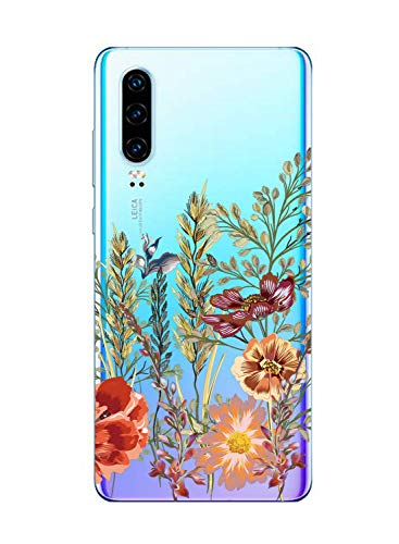 Suhctup Coque Compatible pour Huawei Honor V9,Etui en Silicone Transparent TPU Souple Housse Ultra Fin Anti Choc Protection Bumper Case avec Fleur Dessin pour Huawei Honor V9(Fleur 9)
