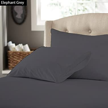 KM Linen Fitted Deep Pocket 22  inches & Sizes (Queen) 100% Egyptian Cotton Sheet Set Four (4PCs) 400 Thread Count Solid Patterned : Elephant Grey