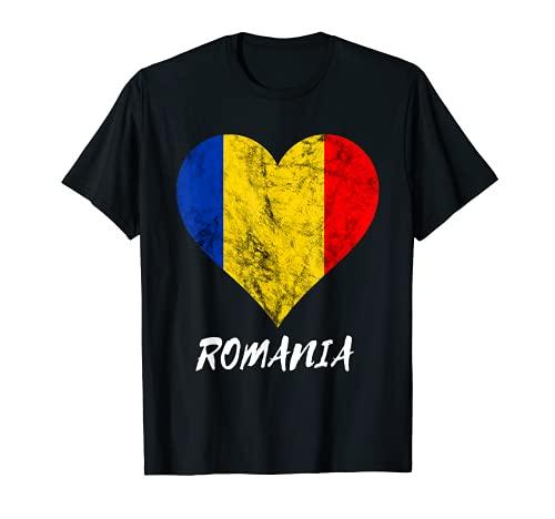 Romania Rumäne Herz Rumänien Liebe Rumänische Flagge T-Shirt