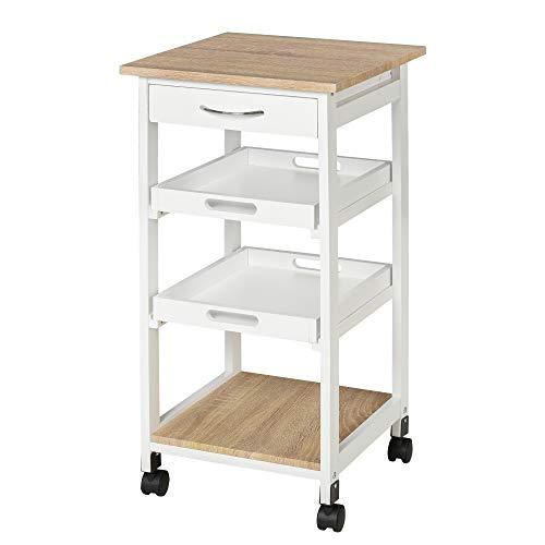 Chariot de service desserte de cuisine à roulettes 2 plateaux amovibles, tiroir, étagère MDF chêne clair bois pin blanc