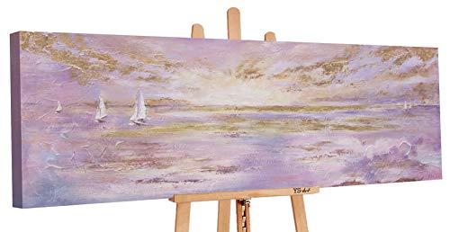 YS-Art Premium | Cuadro Pintado a Mano Rayos del Sol | Cuadro Moderno acrilico | 150x50 cm | Lienzo Pintado a Mano | Cuadros Dormitories | único | Beige Gris | PS052