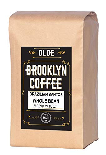 BRAZILIAN SANTOS Whole Bean Coffee - American / Medium Roast 5LB Bag - For A Classic Coffee, Breakfast, House Gourmet- Roasted in New York