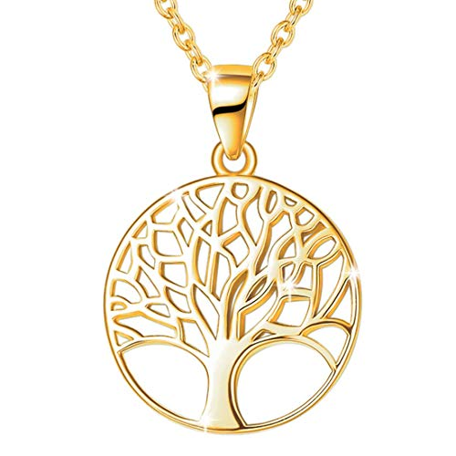 Tree of Life Necklace 925 Sterling Silver Yellow Gold Plated Round Family Tree Pendant Necklace Fine Jewellery Gift for Women Girls Chain Length: 16 + 2 Inch
