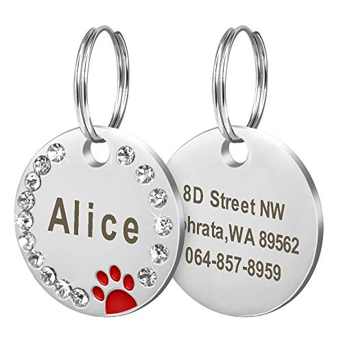 Didog Stainless Steel Custom Engraved Pet ID Tags,Round Crystal Rhinestones Tags with Pretty Paw Print,Double-Side Laser Engraving Tags Fit Small Medium Large Dogs and Kittens,Red