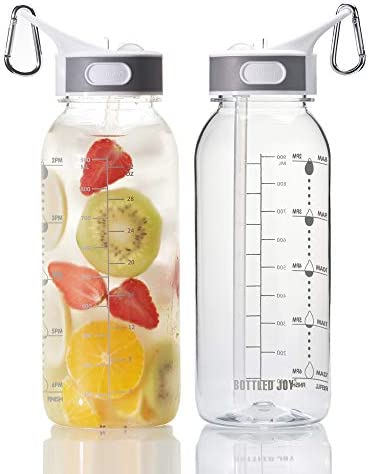 BOTTLED JOY 32oz Water Bottle with Straw BPA Free Water Bottle Hydration with Motivational Time product image