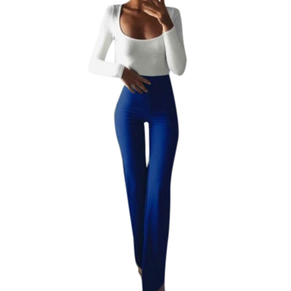 Pole-Trees Women's Solid Color High Waisted Flare Palazzo Wide Leg Pants Casual Stretch Slim Office Trousers