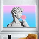 VVSUN Cuadros Modernos David Blowing Pink Bubble Lienzo Pintura para la Sala de Estar Arte de la Pared Impresión David Escultura Imágenes Decoración 60X80cm 24x32 Pulgadas Sin Marco