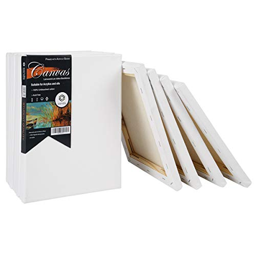 CONDA 8x10 inch Stretched Canvas for Painting, Pack of 10, 100% Cotton,5/8 Inch Profile Value Bulk Pack for Acrylics, Oils Painting