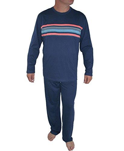 Seidensticker Herren Langer Schlafanzug Pyjama Lang - 146497, Größe Herren:58, Farbe:blau