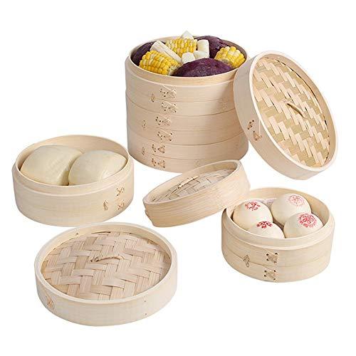 Handgemaakte Bamboestoomboot, 2-laags Manden, Gezond Koken Voor Groenten, Dim Sum-knoedels, Broodjes, Kip, Vis En Vlees Inclusief Eetstokjes Duurzame Stapelbare Stomer Voor Groenten