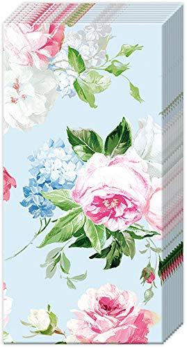 2 Packs van IHR Paper Pocket Handtas Tissues - Scarlett lichtblauw roze bloesem