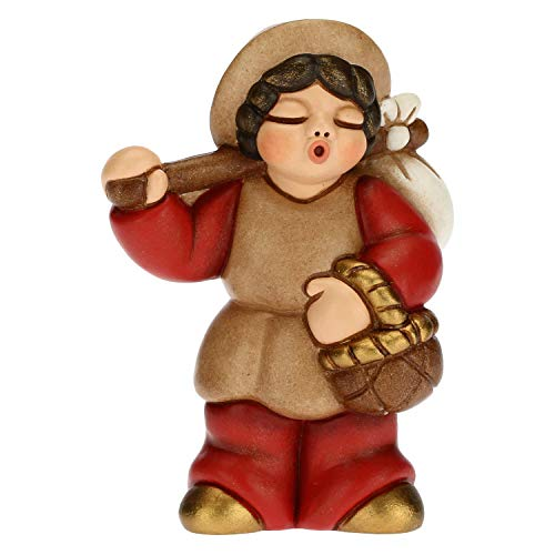 THUN - Statuina Presepe Uomo con Fagotto - Decorazioni Natale Casa - Linea Presepe Classico, Variante Rossa - Ceramica - 6 x 3,8 x 8 h cm