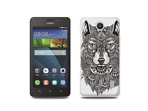 etuo Handyhülle für Huawei Y635 - Hülle, Silikon, Gummi Schutzhülle - Azteken Wolf
