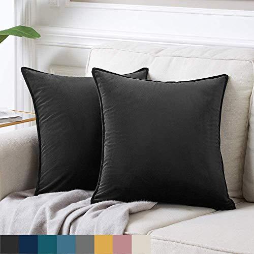 DAOXU 45x45 Funda de cojín de Terciopelo para Ropa de Cama, Paquete de 2, Funda de Almohada Decorativa para sofá y Funda de sofá (Negro, 45x45cm(2pcs))